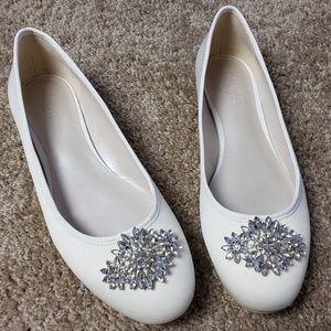 Satin Ballet Flat Glittery Brooch Wedding Formal